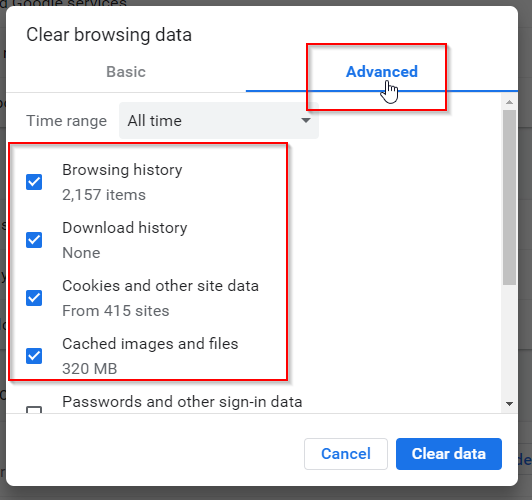 Chrome Clear History Popup Advanced