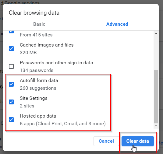 Chrome Clear History Popup