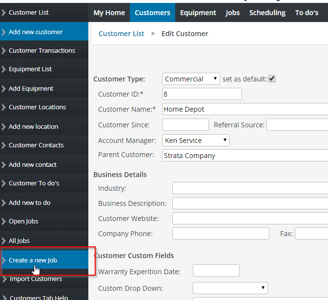Creating a new job in the customers tab