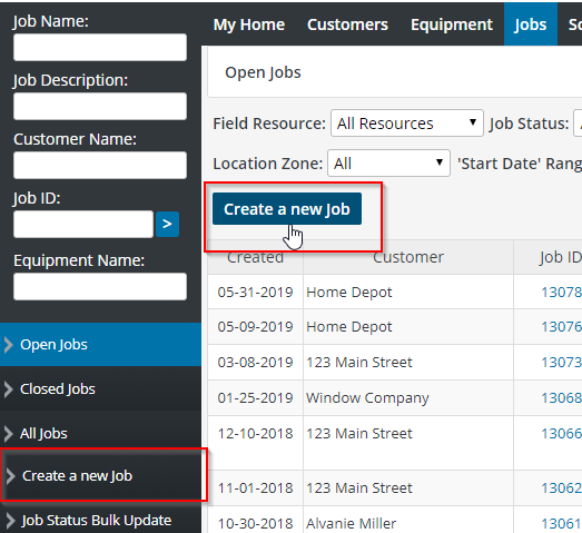 Creating a new job in the jobs tab
