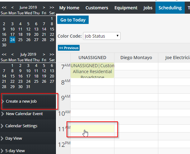 Creating a new job in the scheduling tab